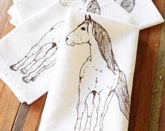 Cloth Napkins - Eco Friendly Dinner Napkins - Screen Printed Cloth Napkins - Reusable - Horse - Rustic - Handmade Cotton Cloth Napkins