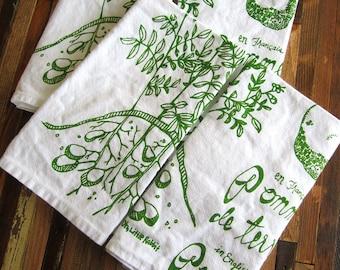 Cloth Napkins - Eco Friendly Dinner Napkins - Screen Printed Cloth Napkins - Reusable - Botanical - Potato - Cotton Cloth Napkins - Table