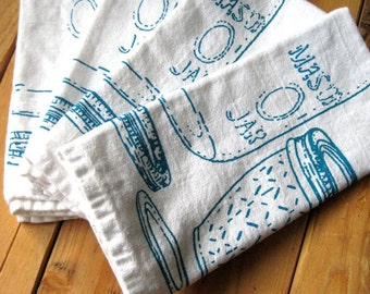 Cloth Napkins - Screen Printed Cotton Cloth Napkins - Eco Friendly Dinner Napkins - Mason Jar - Handmade Cotton Napkins - Table Setting
