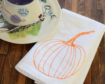 Cloth Napkins - Screen Printed Organic Cotton Cloth Napkins - Eco Friendly Dinner Napkins - Pumpkin - Handmade Cotton Napkins - Thanksgiving