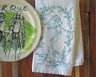 Cloth Napkins - Eco Friendly Dinner Napkins - Screen Printed Cloth Napkins - Reusable Cotton Cloth Napkins - Mermaid - Seaweed - Nautical