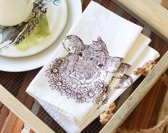 Cloth Napkins - Eco Friendly Dinner Napkins - Screen Printed Cloth Napkins - Dairy Cow - Daisy - Farmhouse - Handmade Cotton Cloth Napkins