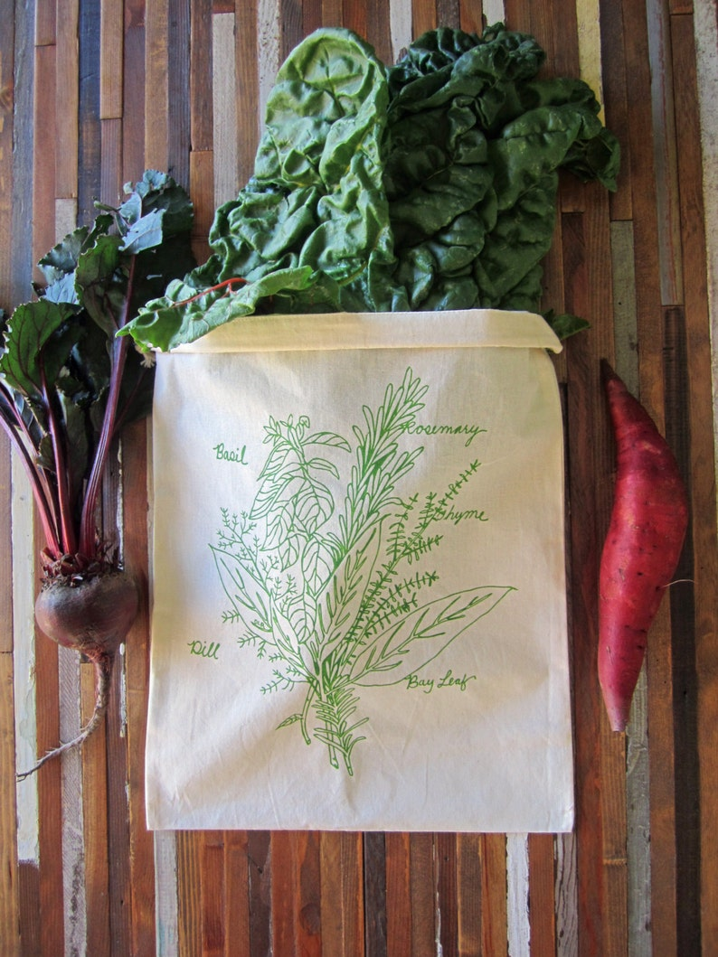 Reusable Produce Bags  Set of 2 Grocery Bags  Screen Printed image 0