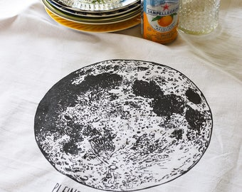 Tea Towel - Tea Towels Flour Sack - Organic Cotton - Kitchen Towels - Dish Towels - Screen Printed Tea Towels - Moon Phase - Constellation