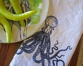 Cloth Napkins - Screen Printed Cloth Napkins - Eco Friendly Dinner Napkins - Cotton Cloth Napkins - Handmade - Nautical - Octopus - Table