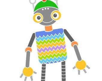 Zigzag robot illustration child bedroom art cute robot print art for kids room nursery wall art robot art modern nursery decor baby room