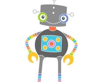 Robot art print kids room decor wall art robot illustration robot drawing home decor sci fi art baby nursery wall decor kids room
