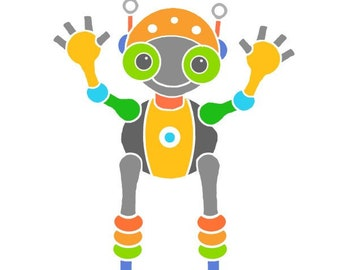 Quirky robot illustration cute robot art for kids room child bedroom art nursery wall art children print modern nursery decor baby room
