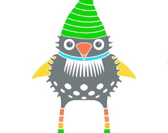 Gnome print bird illustration whimsical bird art for kids funny gnome illustration room decor cute gnome art nursery wall art striped hat