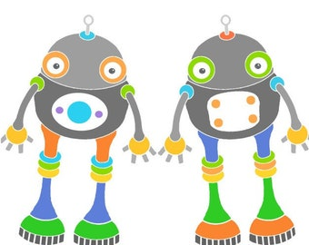 Cute robot art kids room wall decor cute robot print whimsical art science fiction funny robot illustration kids room wall art nursery decor