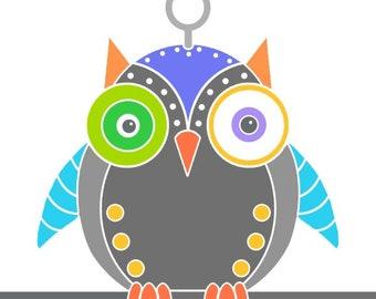 Blue owl robot print contemporary art robot drawing animal art wall art print bird art wall decor robot illustration owl print kids room