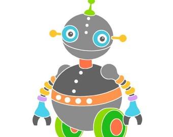 Robot art print room decor cute robot illustration kids art sci fi nursery wall art baby room robot drawing nursery decor