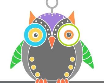 Purple owl robot print contemporary art robot drawing animal art wall art print bird art wall decor robot illustration owl print kids room