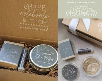 Signature Spa Gift Set   Sugar Scrub, Soap and Lip Balm  Hostess Gift  Birthday Gift   Teacher Gift  Thank You Gift   Self Care Gift