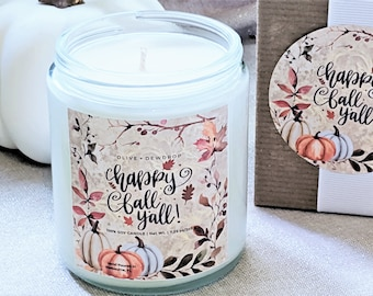 Fall Candle   Choose from 6 styles   Soy Candle Gift   Home Decor   Tiered Tray Decor   Happy Fall Candle   Pumpkin Candle   Autumn Gift