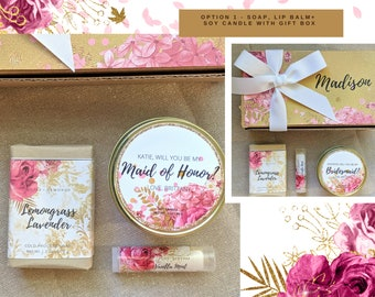 Bridal Party Personalized Gift   Bridesmaid  Maid of Honor  Matron of Honor  Proposal Spa Gift Set  Soap, Lip Balm Soy Candle Sugar Scrub