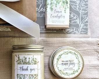 GREENERY Thank You Gift Box - Spa Gift Set - You are Amazing - Soy Candle, Sugar Scrub and Soap Bar - Hostess Gift - Teacher Appreciation