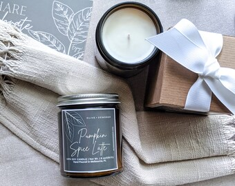 PUMPKIN SPICE LATTE Scented Soy Candle 8 oz   100% Soy Wax  Soy Candle Gift   Housewarming Gift   Fall Gift  Thank You   Relax   Gift