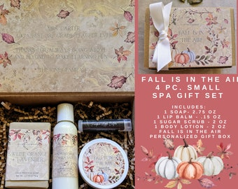 FALL Spa Gift Set  4 pc.   Sugar Scrub, Lotion, Soap + Lip Balm   Personalized Hostess Gift  Birthday Gift   Teacher Gift  Thank You Gift