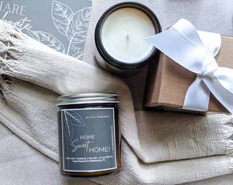 HOME Soy Candle 8 oz   100% Soy Wax  Soy Candle Gift   Housewarming Gift   New Home   First Home  Thank You   Gift