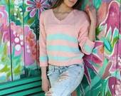 Vintage 70s Wrangler brand pastel peach and mint green sweater