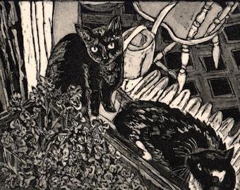 Cats Fire Escape Intaglio Etching Print Limited Edition Black Ink Flower Box Window Brooklyn Light Shadow