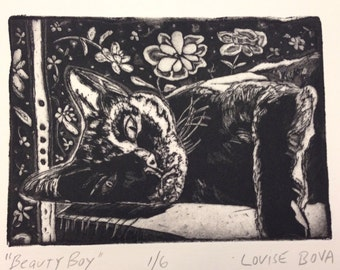 Cat Intaglio Art Basking in Sun Relaxing Etching Print Limited Edition Black Ink Flower pattern table Brooklyn Light Shadow