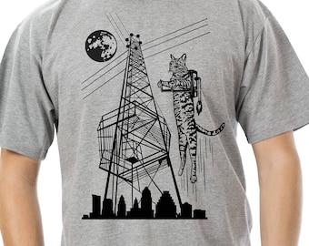 PREORDER: Cat Shirt Men Tshirt Jetpack Moon Tower Flying Austin Hipster Cool Moontower Mens Jet Pack Tee Quirky Weird ATX Space Texas Shirt
