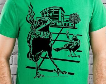 Smoking Grackle Bird Shirt Men Texas Shirt TShirt Green Unisex Hipster Tee Funny Print Weird Design Clothing Satire Texas