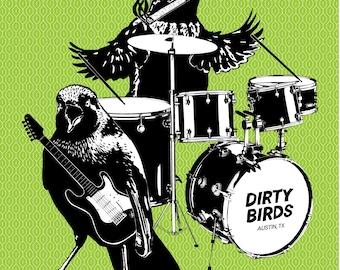 Smoking Grackle Rock Band Bird Poster Texas Green Hipster Funny Print Weird Design Paper Satire Texas