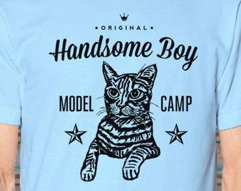 Hipster Cat Shirt Men Handsome Boy Model Camp Tee Cat-Lover Unisex Blue Modeling School Feline TShirt Funny Kitty Original Art T-Shirt