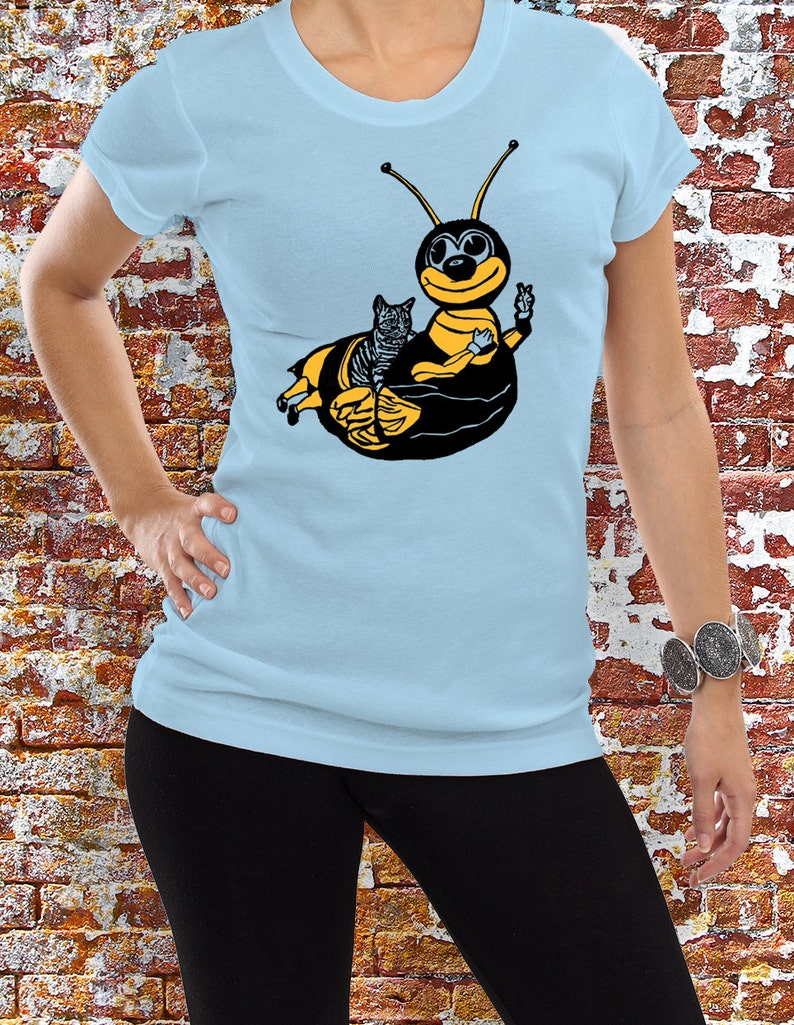Women's Bumble Bee Ride Cat TShirt Funny Hipster Coney image 0