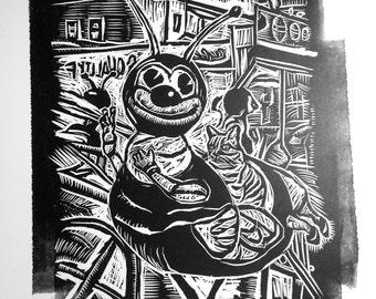 Coney Island Linocut Bee Ride Cat Riding Woodcut Print Black Original Art Grungy Brooklyn New York Urban Boardwalk Strange Amusement Park