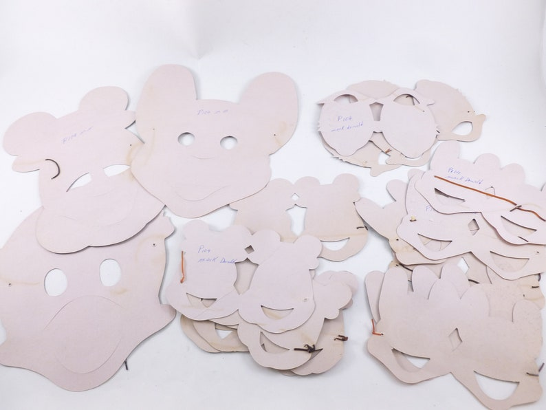 Disney Characters Paper Party Masks Lot Mickey Mouse and Donald Duck Screenprinted