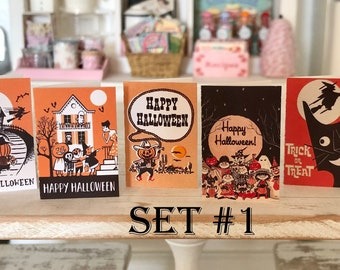 HALLOWEEN GREETING CARDS - Vintage Retro - Available in 1:6 Scale or 1/12 Scale Miniature