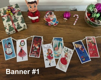 Vintage Christmas - Retro Greeting Card HANGING BUNTING BANNER - Choose 1/6 Scale or 1:12 Scale Miniature