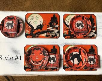 Mini VINTAGE HALLOWEEN - Paper Plates Napkins Placemats- Choose 1/12 Dollhouse or 1:6 Scale Miniature