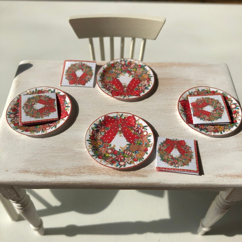 Christmas Paper Plates And Napkins.Christmas Holiday Candy Wreath Paper Plates Napkins Choose 1 12 Dollhouse Or 1 6 Scale Miniature