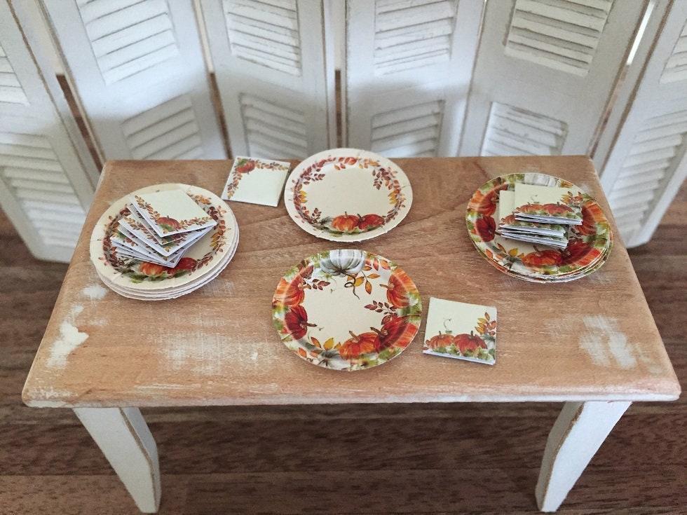 fall thanksgiving paper plates napkins choose 1 12 etsy. Black Bedroom Furniture Sets. Home Design Ideas