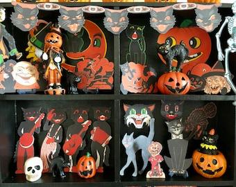 Miniature Vintage-Style Halloween - RETRO CUTOUTS - Black Cat Garland - Choose 1/6 Scale or 1:12 Scale Dollhouse Mini
