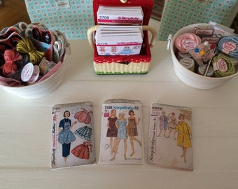 Choose a Scale - Set of 3 SEWING PATTERN ENVELOPES - 1:6 Scale Or 1/12 Scale Miniature