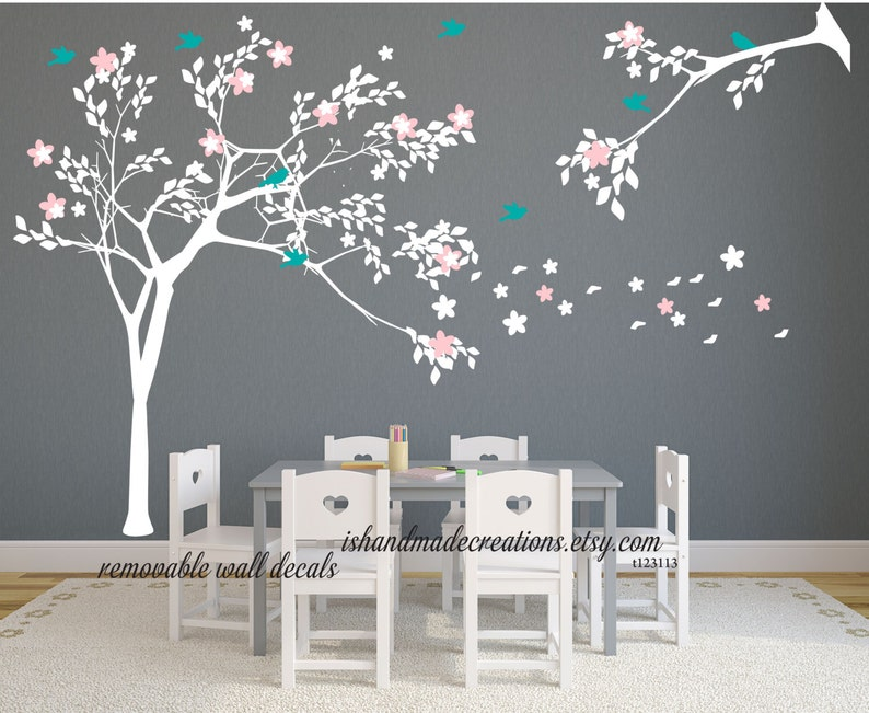 white tree decal tree wall mural kids wall decal | etsy