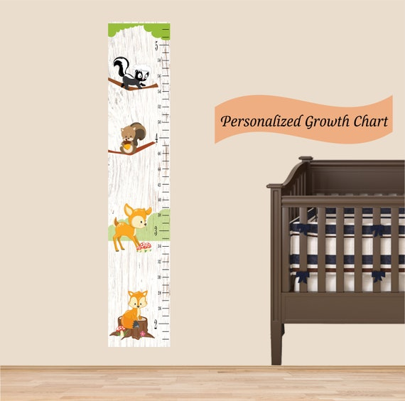 Wood Land Growth Chart For Kids Fabric Re Usable And Re Etsy