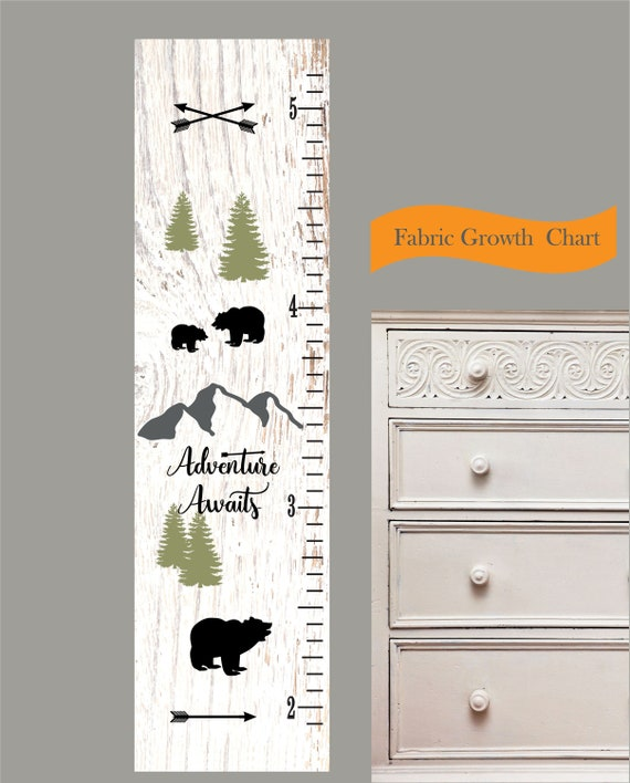 Childrens Growth Chart Fabric Nursery Art Woodland Etsy