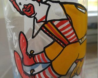 1977 Ronald McDonald Glass-McDonald's Restaurant Drinking Glass Tumbler-Vintage Ronald McDonald Clown Action Series 1970's Collectible Glass
