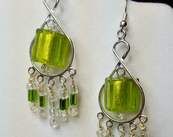 Green and Iridescent Bead, Silver Earrings