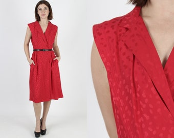 f12f0c9c7 80s Red Polka Dot Dress Plain Silk Menswear Dress For Cocktail Party Wide  Collar Mini Dress With Pockets