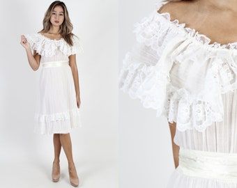 b6b741151ec Vintage 70s White Dress Sheer Plain Dress Off The Shoulder Dress 1970s  Sheer Dress Lace Boho Wedding Bridal Prairie Knee Length Mini Dress
