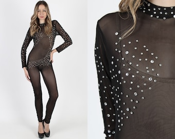 a209c0bcf47 Black Jumpsuit See Through Jumpsuit Bodycon Studded Jumpsuit Sexy Catsuit  Vintage 80s Sheer Lace Rhinestone Glam Tight Skinny Playsuit