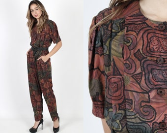 5e885058051 80s Jumpsuit With Pockets Ethnic Jumpsuit African Grunge Playsuit Vintage  1980s Tribal Boho Secretary Cocktail Party Playsuit Jumpsuit